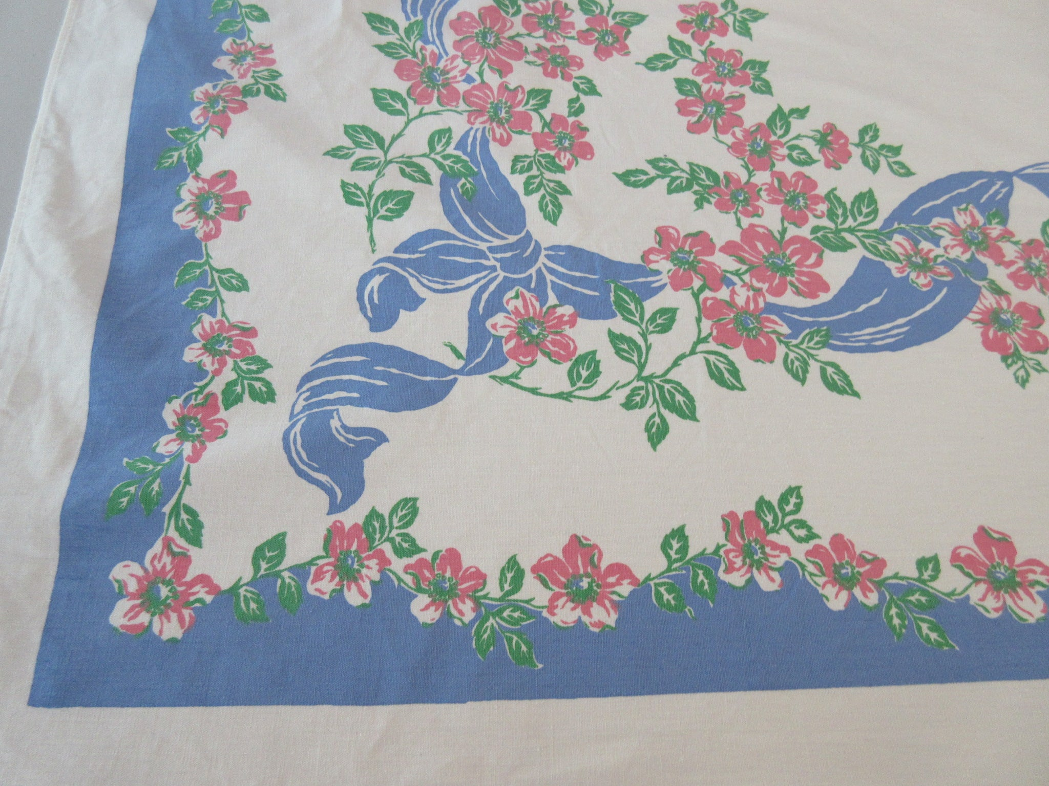 Pink Dogwood on Blue Ribbons Floral Vintage Printed Tablecloth (64 X 51)