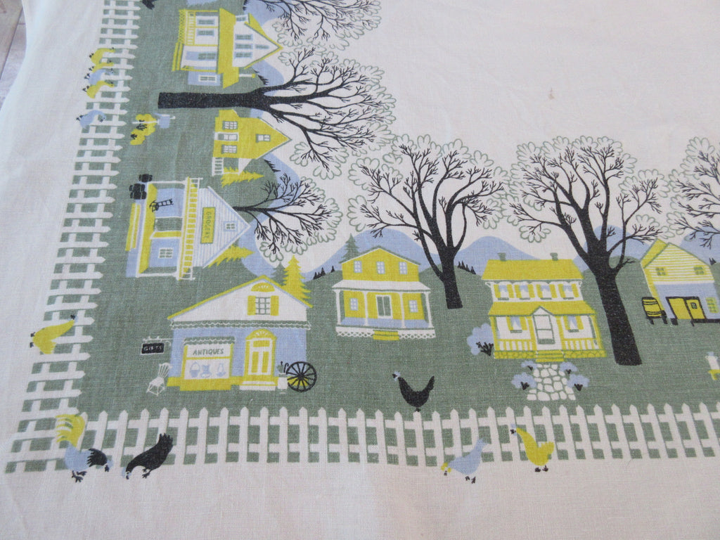 Country Town Houses Chickens Napkins Novelty Vintage Printed Tablecloth (67 X 50)