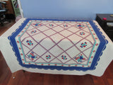 Primary Red Blue Green Fruit Linen Vintage Printed Tablecloth (52 X 52)