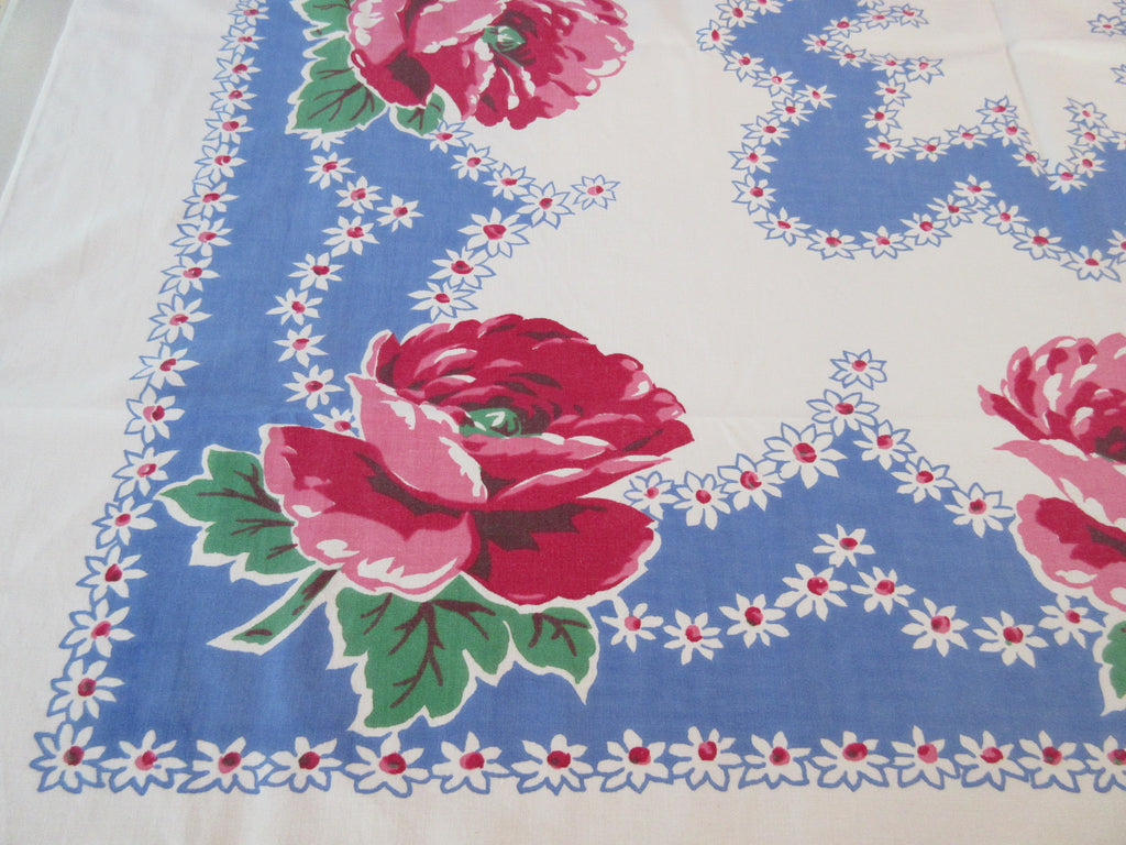Pink Poppies on French Blue Floral Vintage Printed Tablecloth (51 X 45)