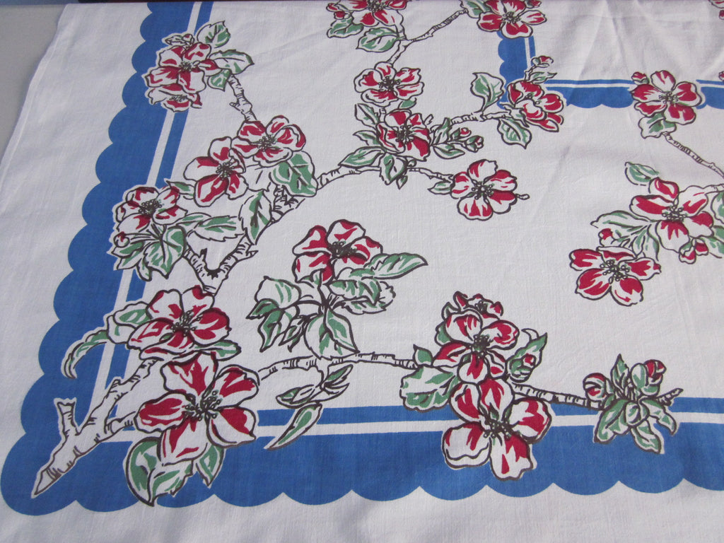 Red Green Dogwood on Blue Floral Vintage Printed Tablecloth (50 X 46)