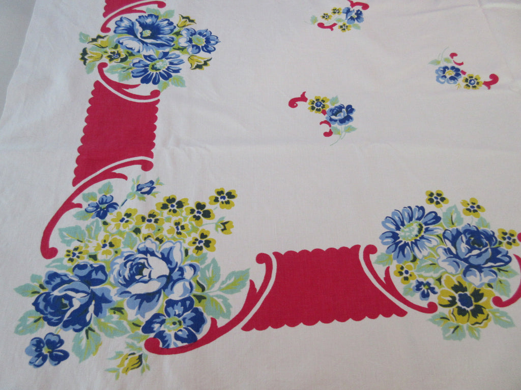 Primary Roses Poppies on Red CUTTER Floral Vintage Printed Tablecloth (53 X 46)