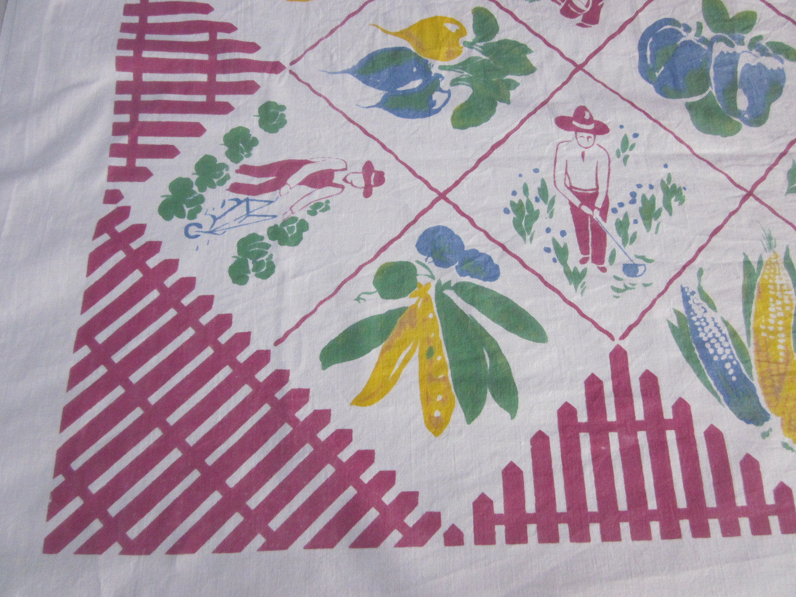 HTF Damaged Victory Garden Vegetable Novelty Vintage Printed Tablecloth (53 X 49)