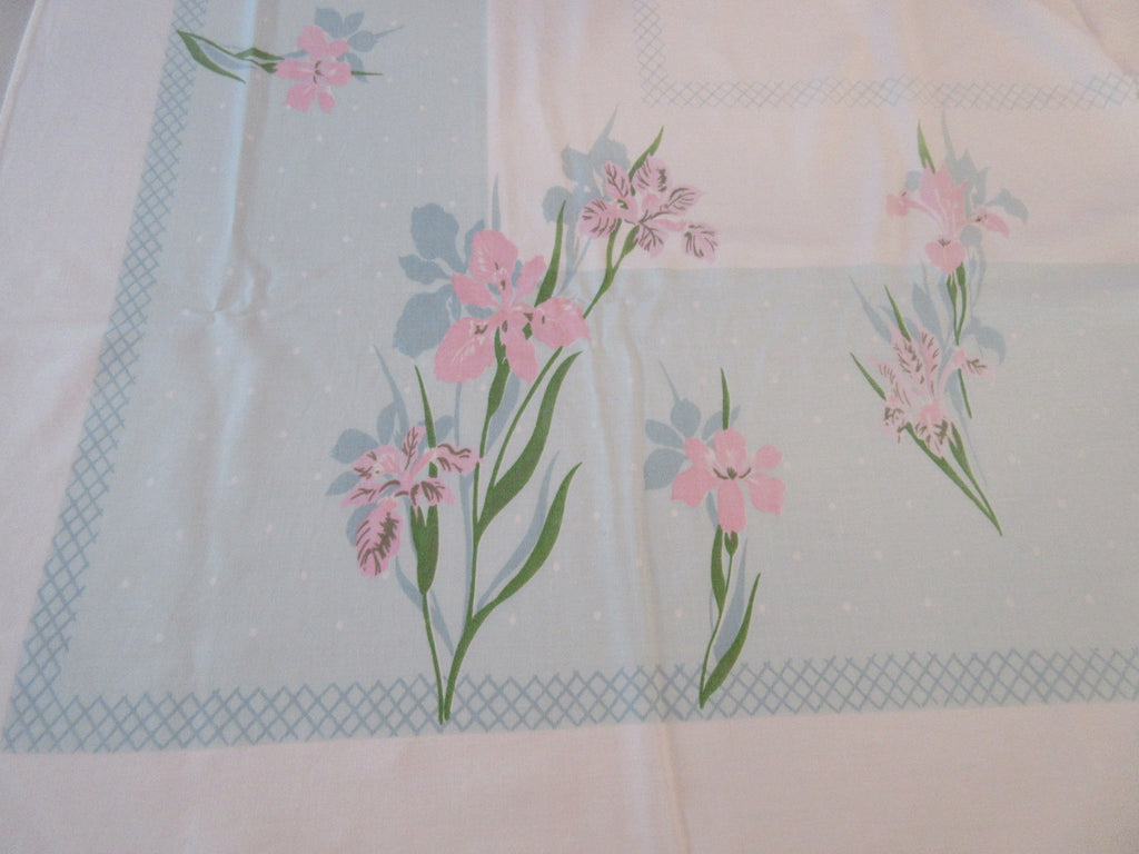 Sweet and Shabby Pink Iris on Aqua Floral Vintage Printed Tablecloth (59 X 52)