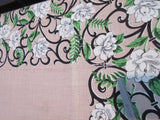 White Begonias Wrought Iron on Tan Linen Floral Vintage Printed Tablecloth (50 X 48)