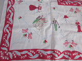 Rare Wedding Party Linen Novelty Vintage Printed Tablecloth (51 X 49)