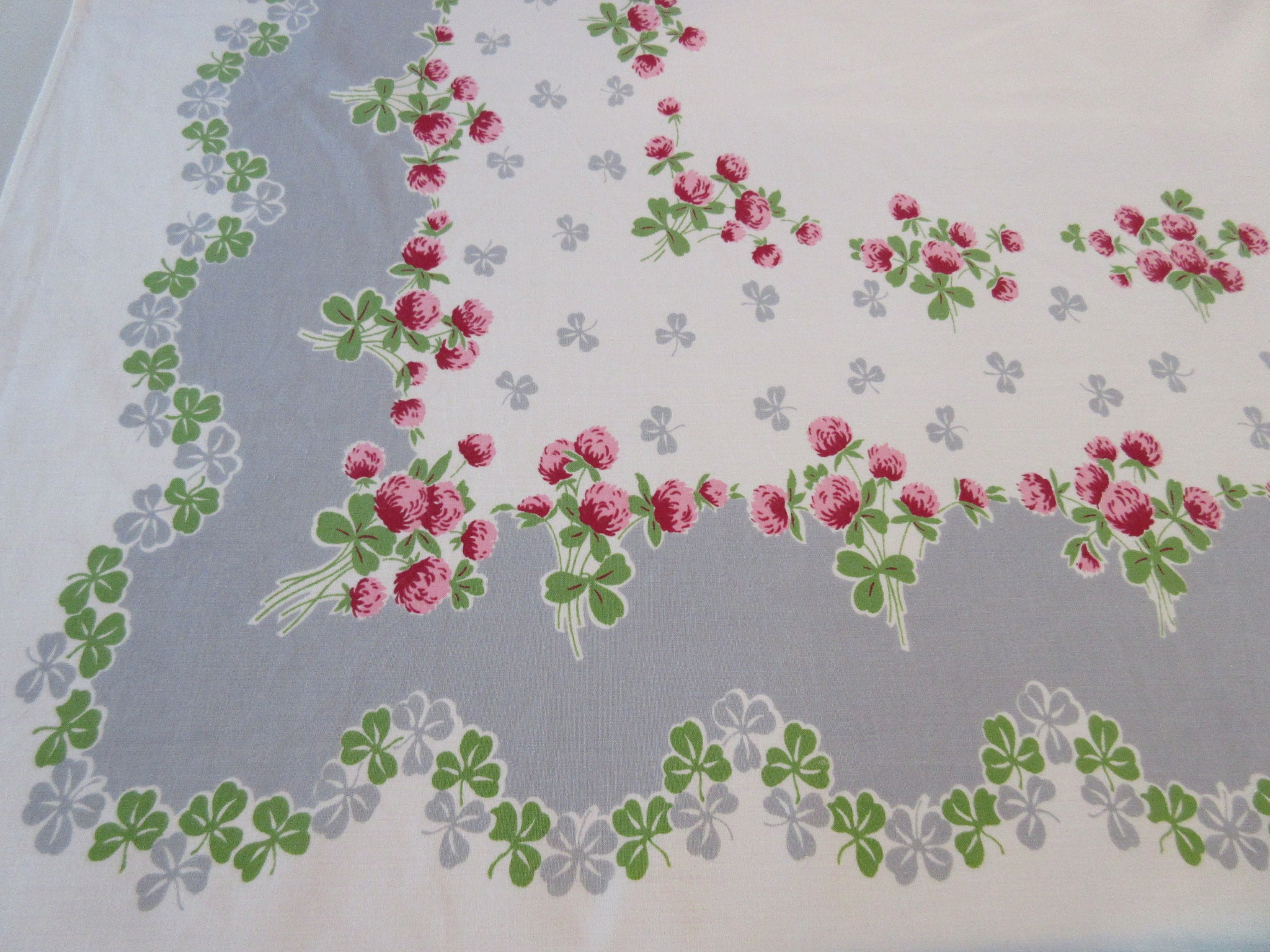 Pink Green Clovers on Gray Floral Vintage Printed Tablecloth (59 X 52)
