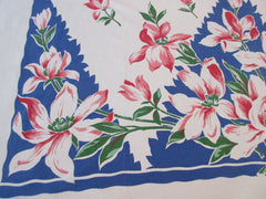 Pink Magnolias on Blue Diamonds Floral Vintage Printed Tablecloth (49 X 48)