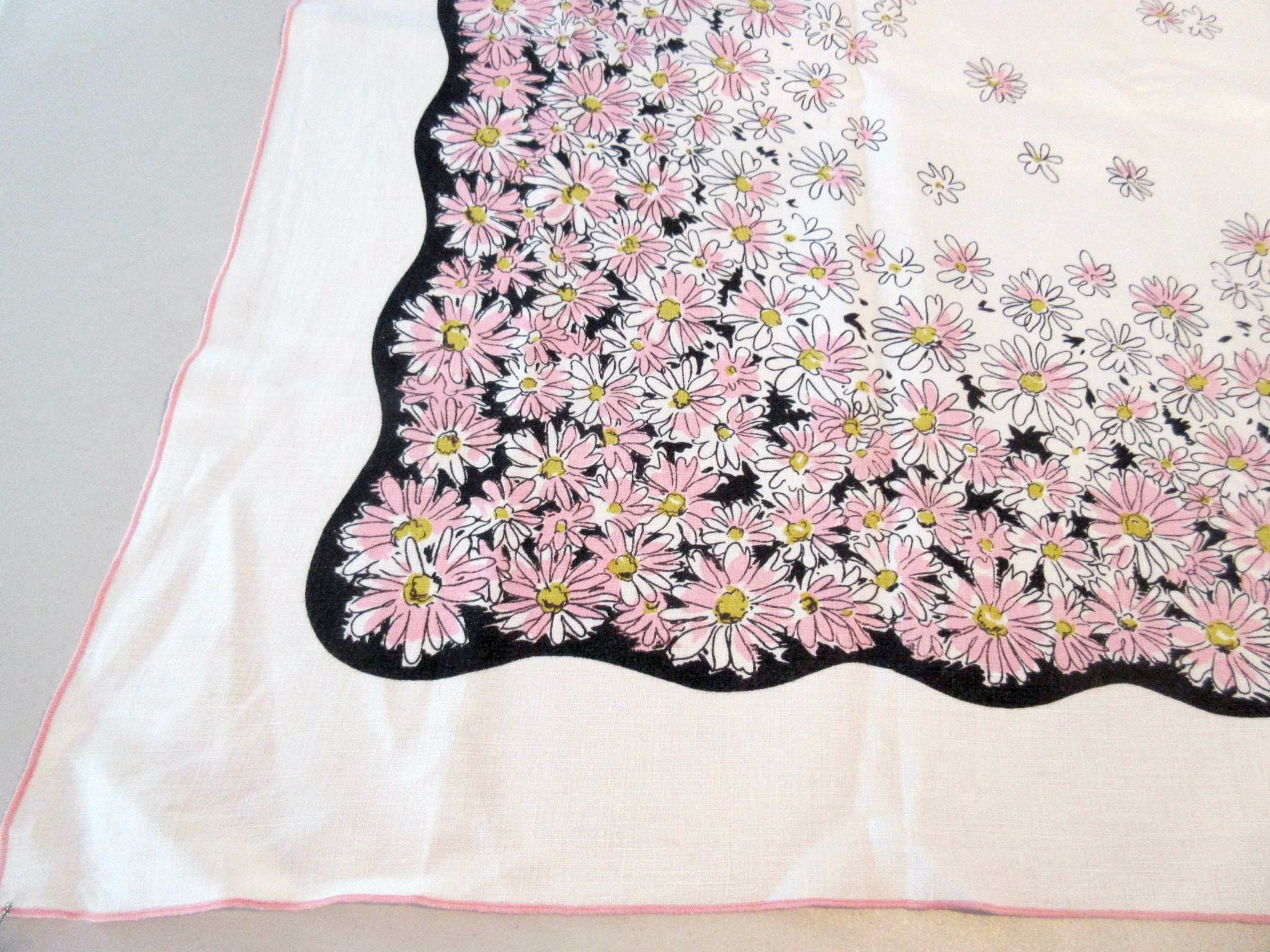 Mod Pink Daisies on Black Linen Floral Vintage Printed Tablecloth (49 X 49)