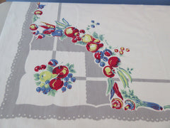 Primary Fruit Vegetable Circles on Gray Food Vintage Printed Tablecloth (50 X 48)