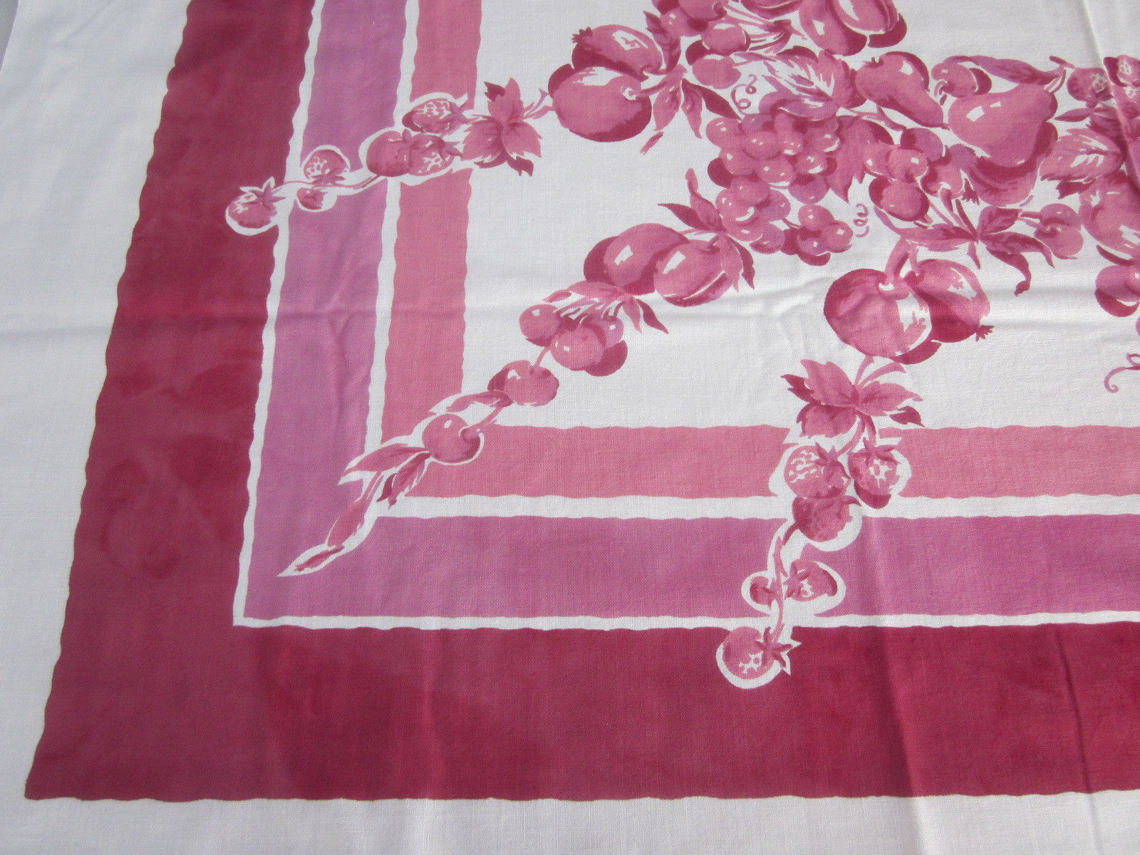 Pink Magenta Fruit Cutter Vintage Printed Tablecloth (51 X 48)