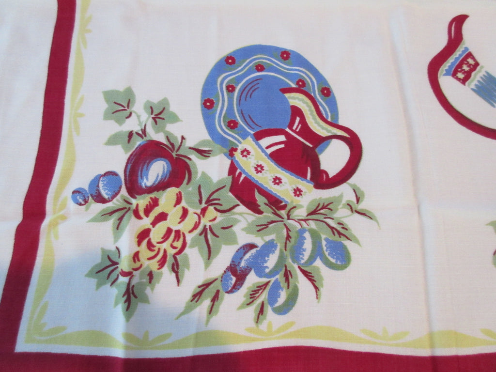 Mexican Fruit Pitchers Rayon Topper Novelty Vintage Printed Tablecloth (34 X 32)