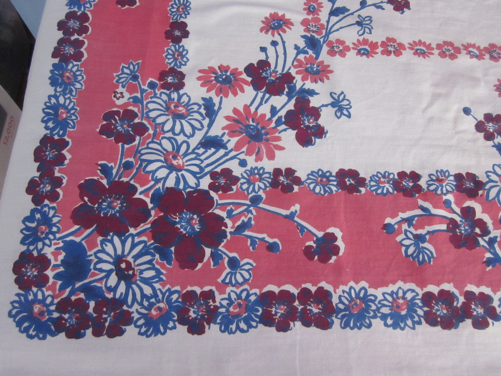 Early Pink Blue Floral Cutter? Vintage Printed Tablecloth (68 X 56)