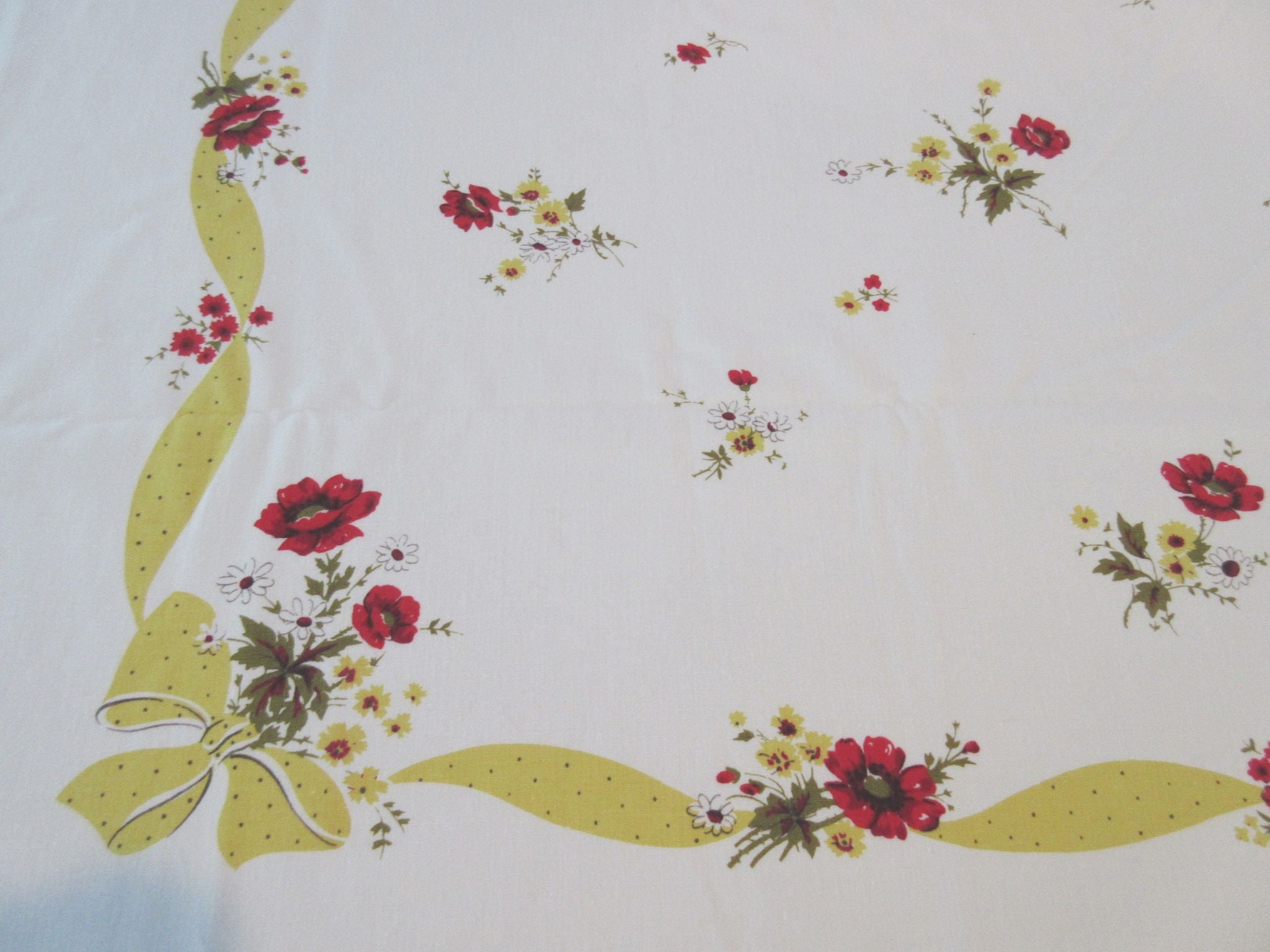 Red Wild Roses on Yellow Polkadot Ribbons Floral Vintage Printed Tablecloth (52 X 45)