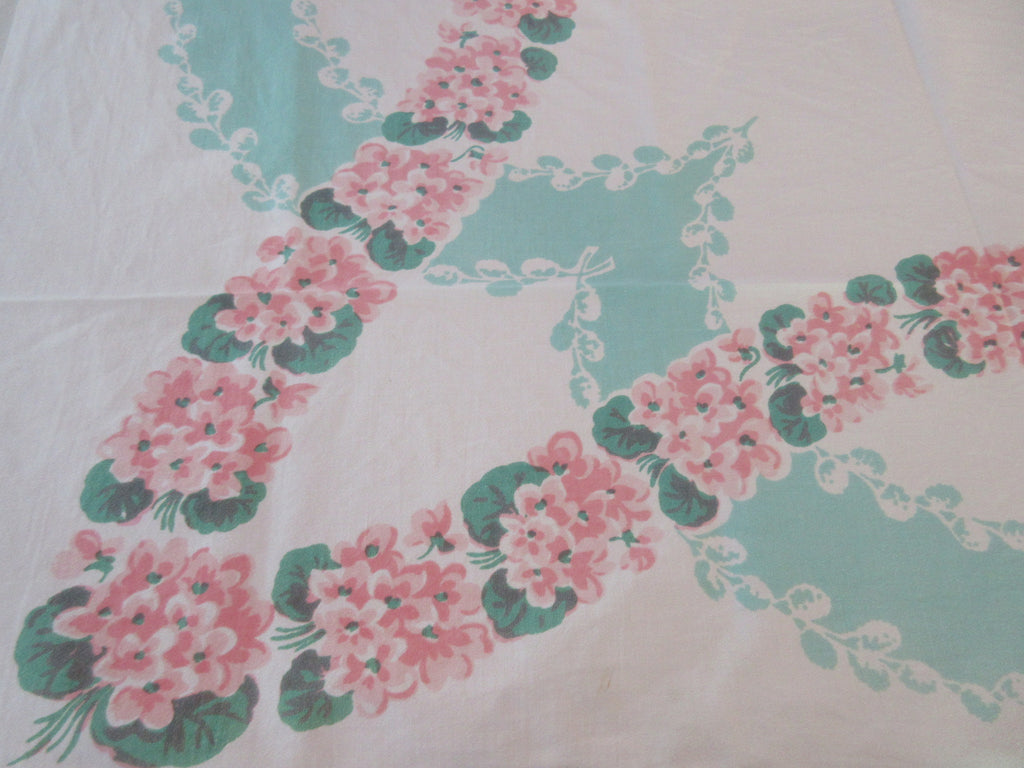 Pink Violets Leis on Green Cutter? Floral Vintage Printed Tablecloth (50 X 44)
