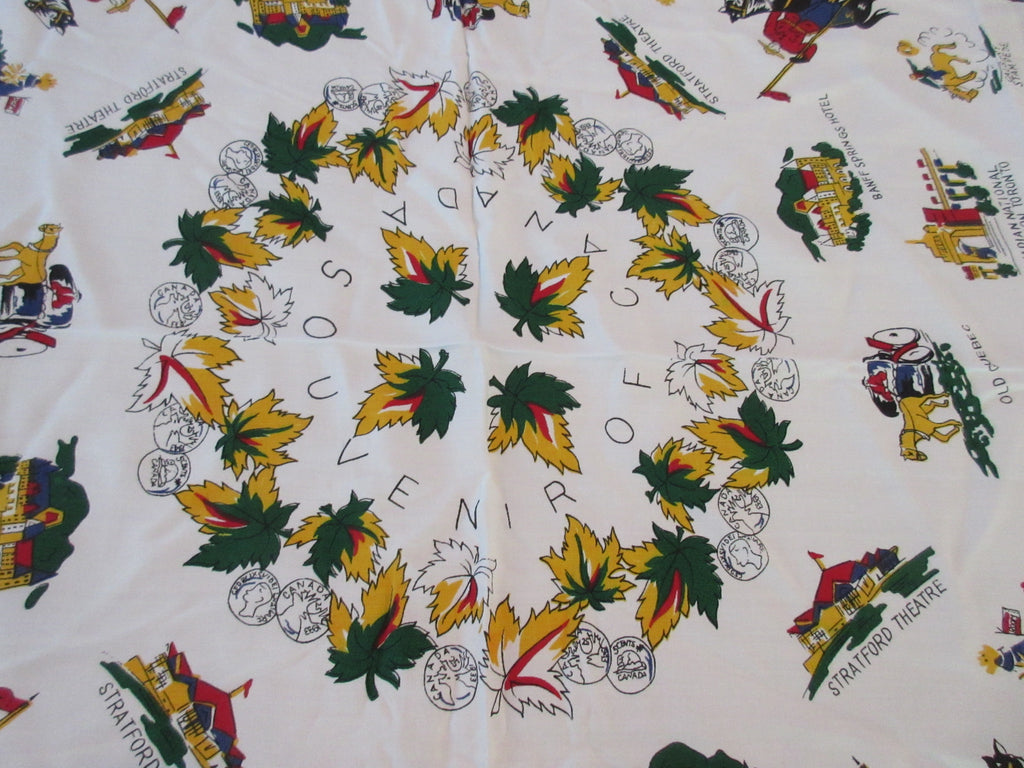 Thinner Rayon Canada Collectible Novelty Vintage Printed Tablecloth (47 X 45)