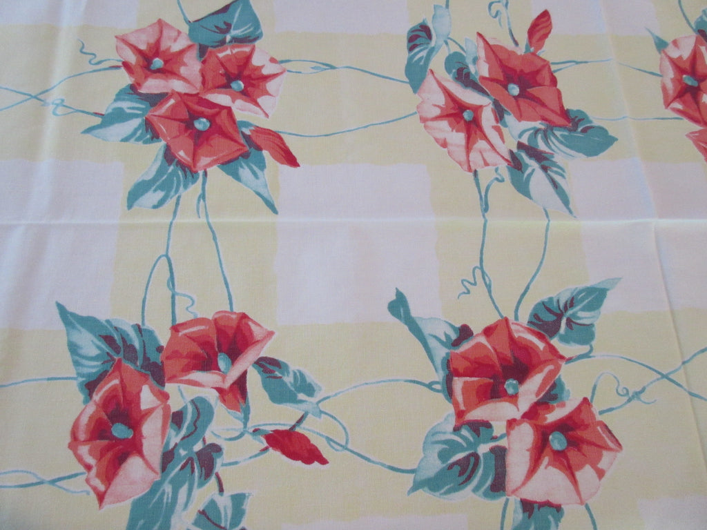 Wilendur Orange Morning Glories on Yellow Plaid Vintage Printed Tablecloth (64 X 54)