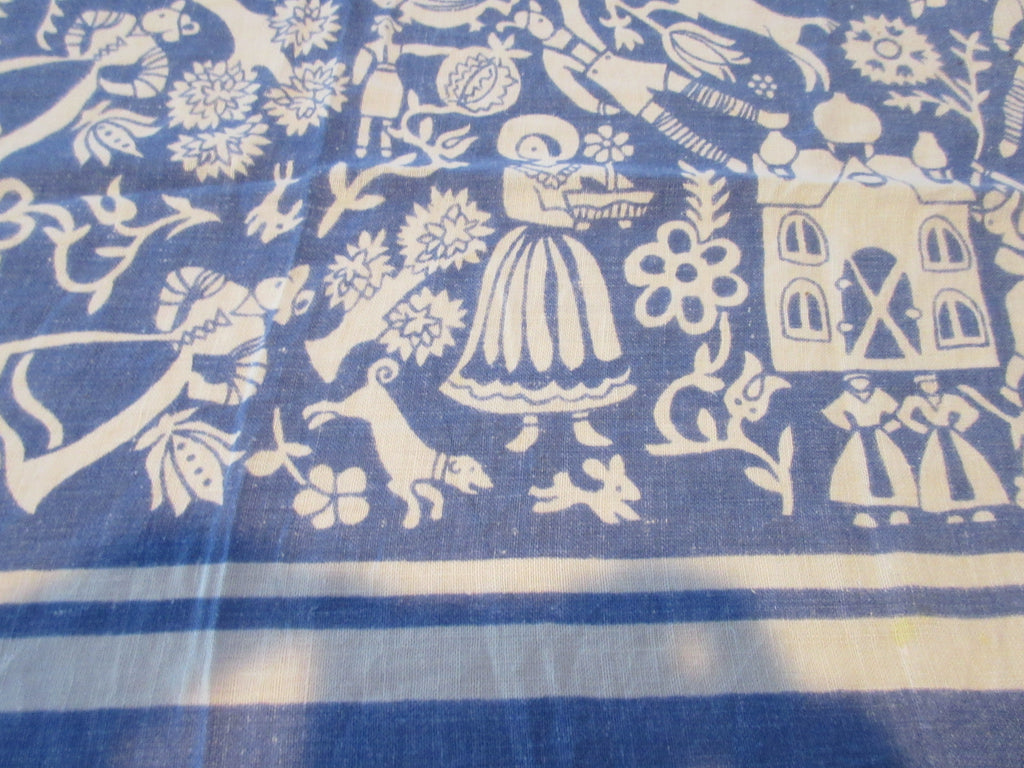 Unusual Reverse Printed Fairy Tale on Blue Novelty Vintage Printed Tablecloth (51 X 47)