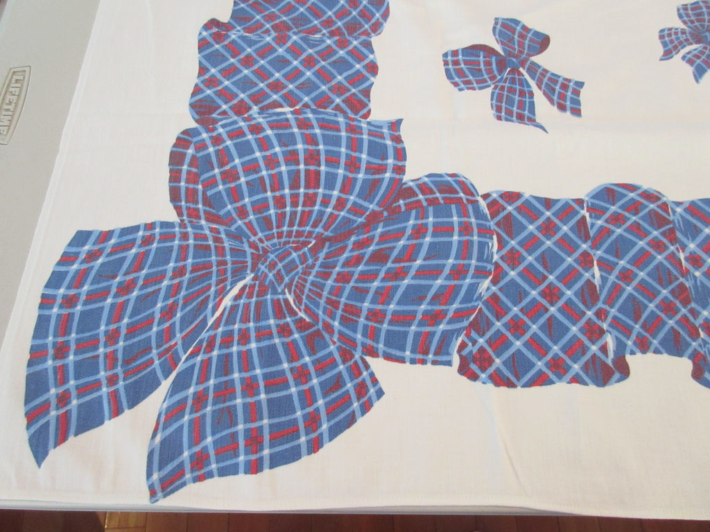 Red Blue Tartan Plaid Bows Novelty Vintage Printed Tablecloth (50 X 45)