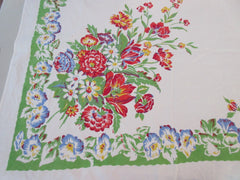 Primary Flower Bunches on Green Cutter? Floral Vintage Printed Tablecloth (62 X 53)
