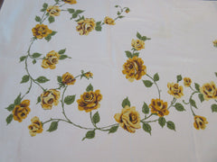 Yellow Roses Cutter? Floral Vintage Printed Tablecloth (62 X 49)