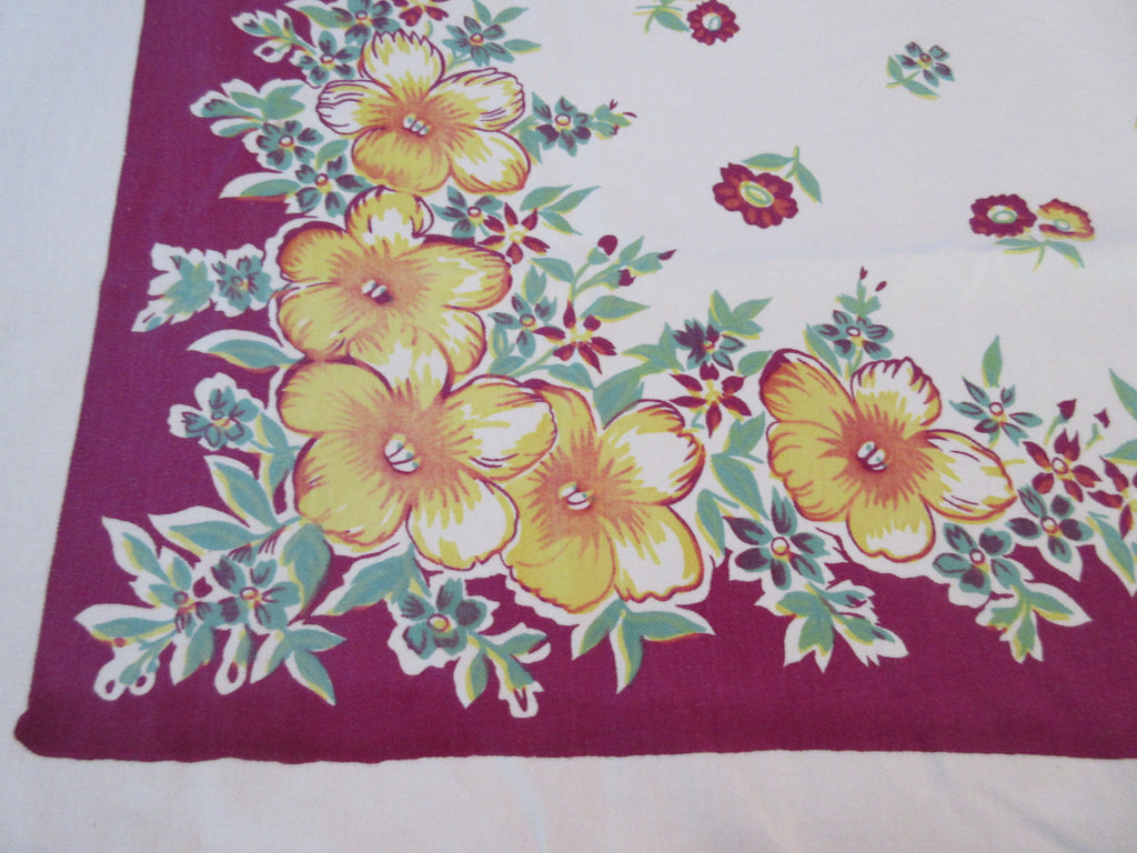 Yellow Green Flowers on Magenta Floral Vintage Printed Tablecloth (54 X 45)
