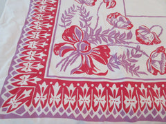 Red Purple Tulips Cutter? Floral Vintage Printed Tablecloth (47 X 46)