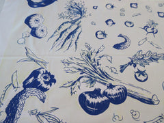 Faded Cobalt Blue Veggies Vegetables on Yellow Vintage Printed Tablecloth (51 X 44)
