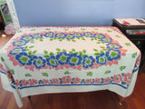 Early Larger Blue Pink Green Flowers Floral Vintage Printed Tablecloth (73 X 52)