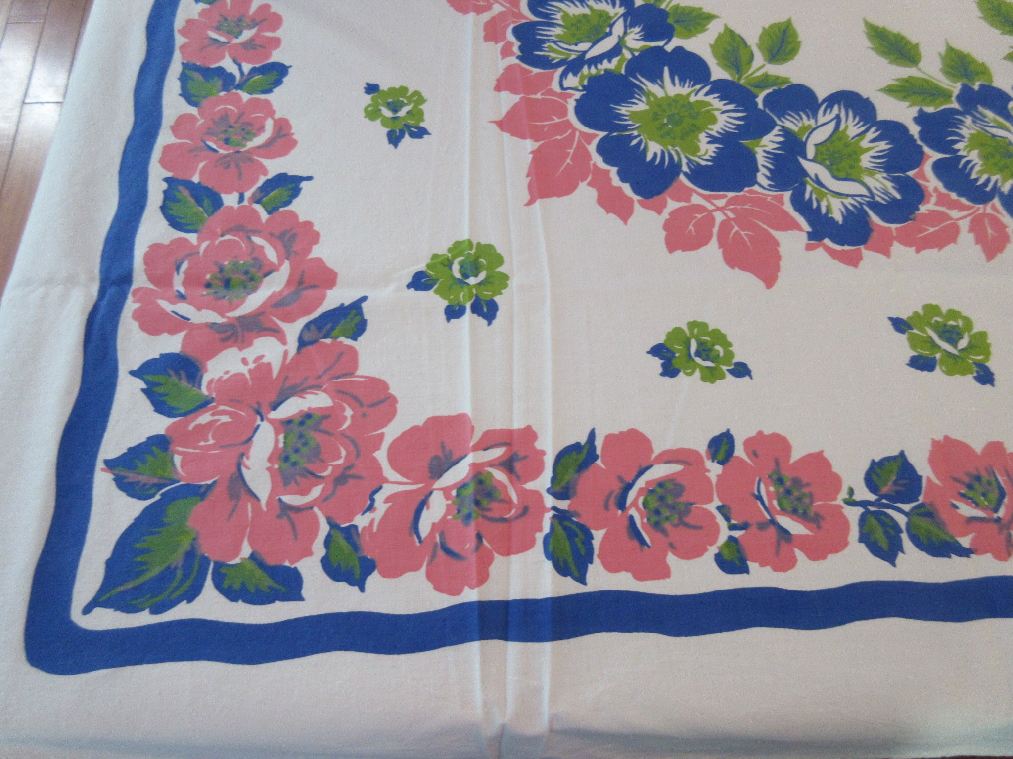 Early Larger Blue Pink Green Flowers Floral Vintage Printed Tablecloth