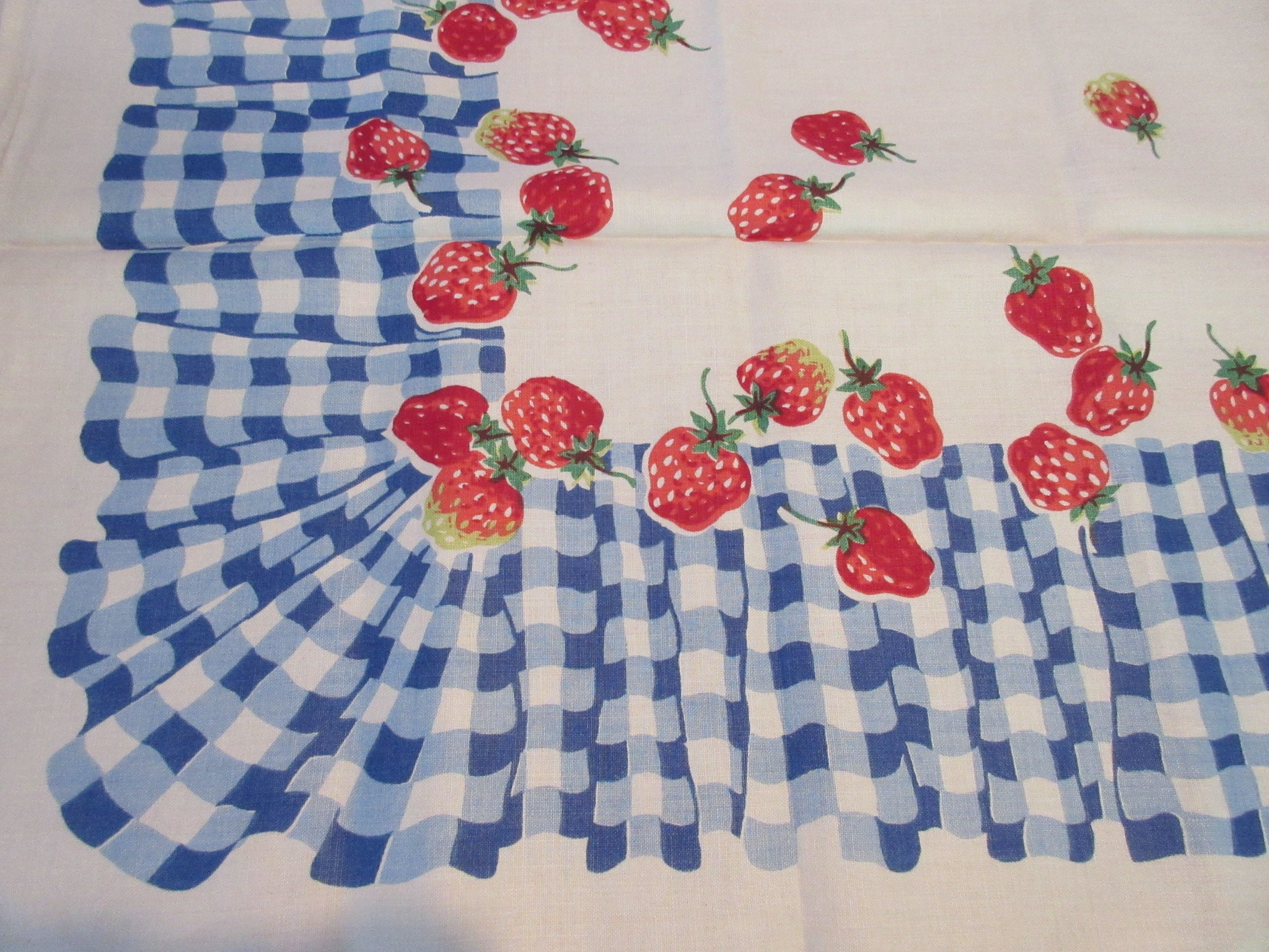 Red Strawberries on Blue Gingham MWT Napkins Fruit Vintage Printed Tablecloth (52 X 50)