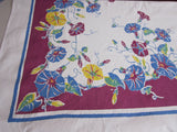 Blue Yellow Morning Glories on Magenta Floral Vintage Tablecloth (63 X 52)