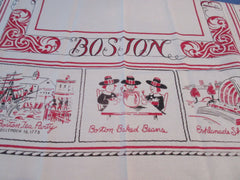 Boston Massachusetts Souvenir Red Black Cartoon Novelty Vintage Printed Tablecloth (49 X 48)