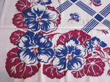 Very Early Blue Magenta Floral Plaid Vintage Printed Tablecloth (50 X 46)