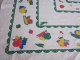 HTF Startex Primary Vegetables on Green Polkadots Vintage Printed Tablecloth (50 X 46)