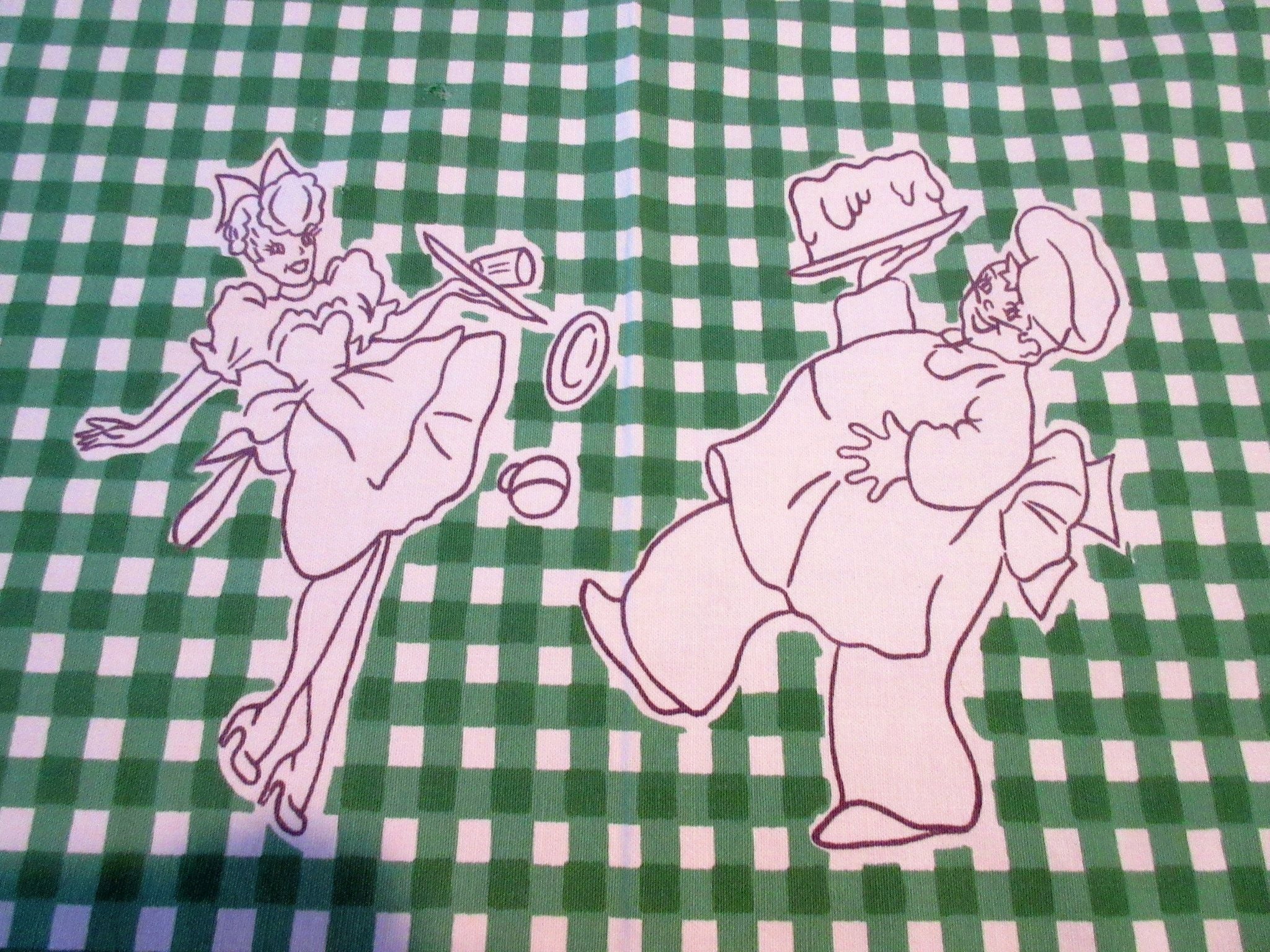 Startex Cartoon Chef Waitress Green Gingham Novelty Vintage Printed Tablecloth (53 X 46)