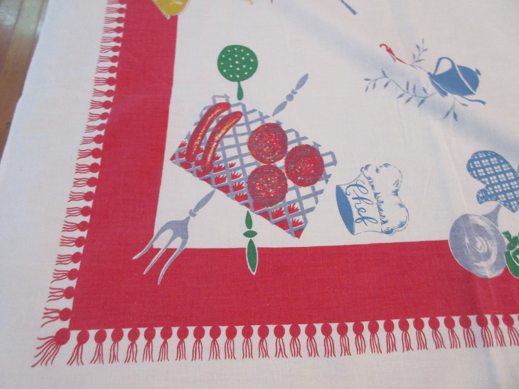 Startex Barbecue BBQ on Red Cutter? Novelty Vintage Printed Tablecloth (62 X 53)