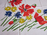 Vera Primary Red Blue Green Floral Napkins MWT Vintage Tablecloth (52 X 50)