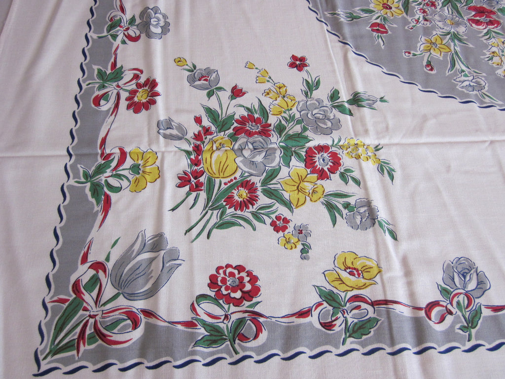 Red Yellow Floral on Gray MWT Vintage Printed Tablecloth (69 X 52)
