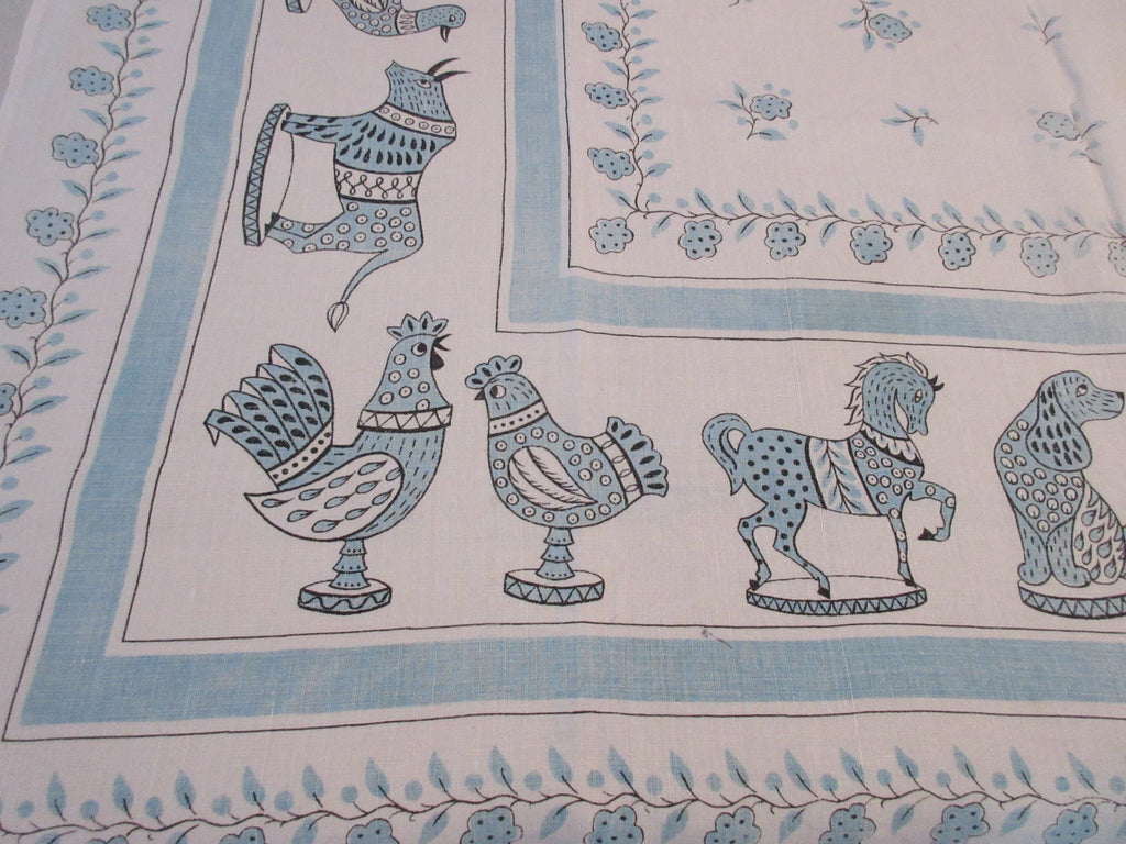 Aqua Cartoon Animal Statues Linen Novelty Vintage Printed Tablecloth (50 X 48)