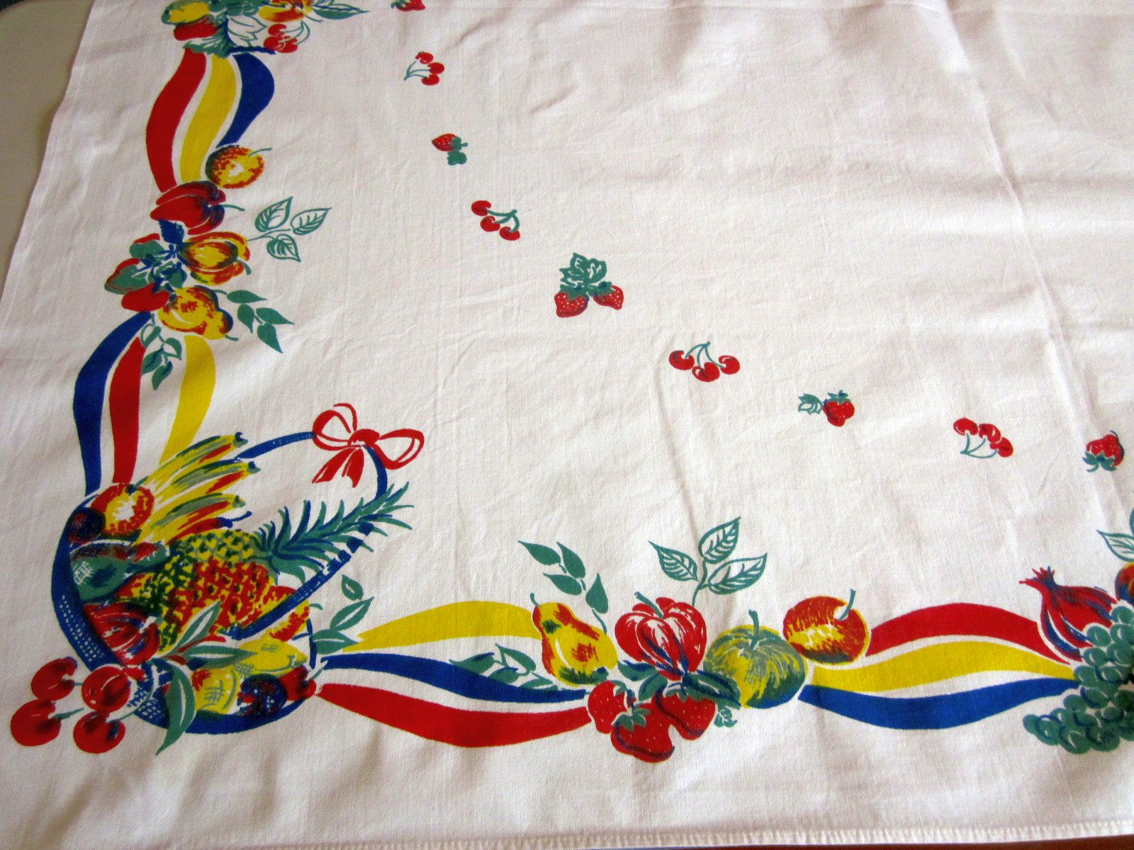 Primary Red Blue Yellow Fruit Baskets Vintage Printed Tablecloth (52 X 45)