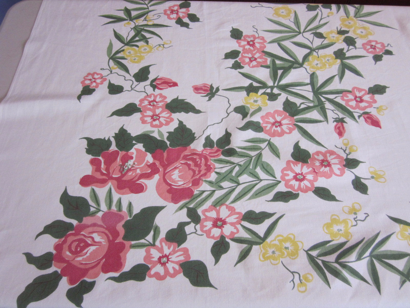 Stunning Pink Roses Offset Floral Vintage Printed Tablecloth (62 X 53)
