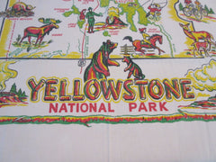Yellowstone Park Wyoming Souvenir Topper Novelty Vintage Printed Tablecloth (37 X 32)