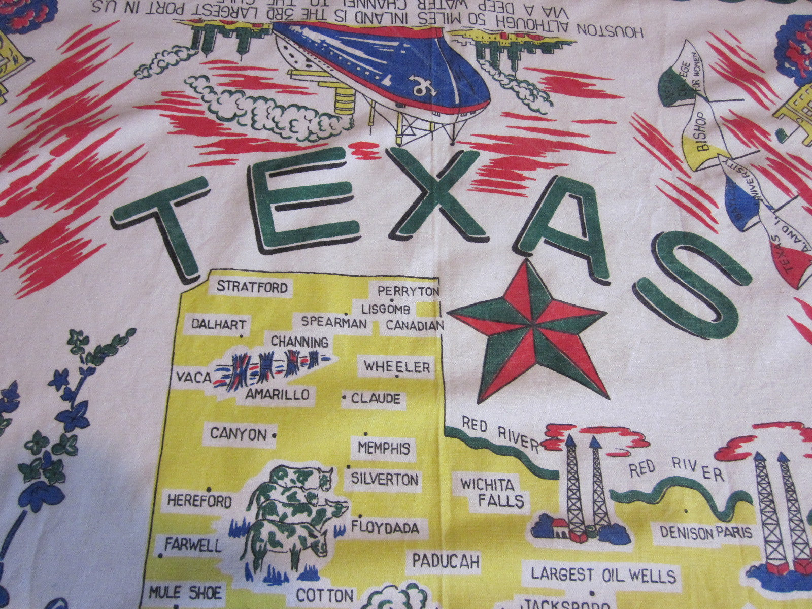 Texas State Souvenir Sheeting Vintage Printed Tablecloth (49 X 48)