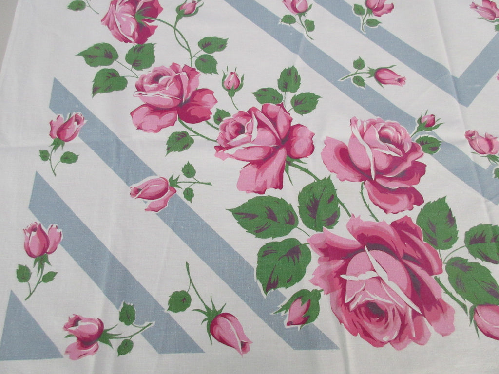 Pink Green Roses on Gray Stripes Floral Vintage Printed Tablecloth (50 X 49)