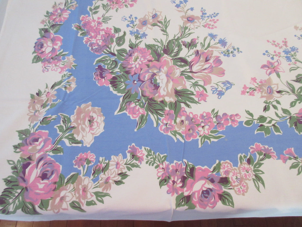 Pink Tulips Lilacs Roses on Blue Floral Vintage Printed Tablecloth (63 X 50 )