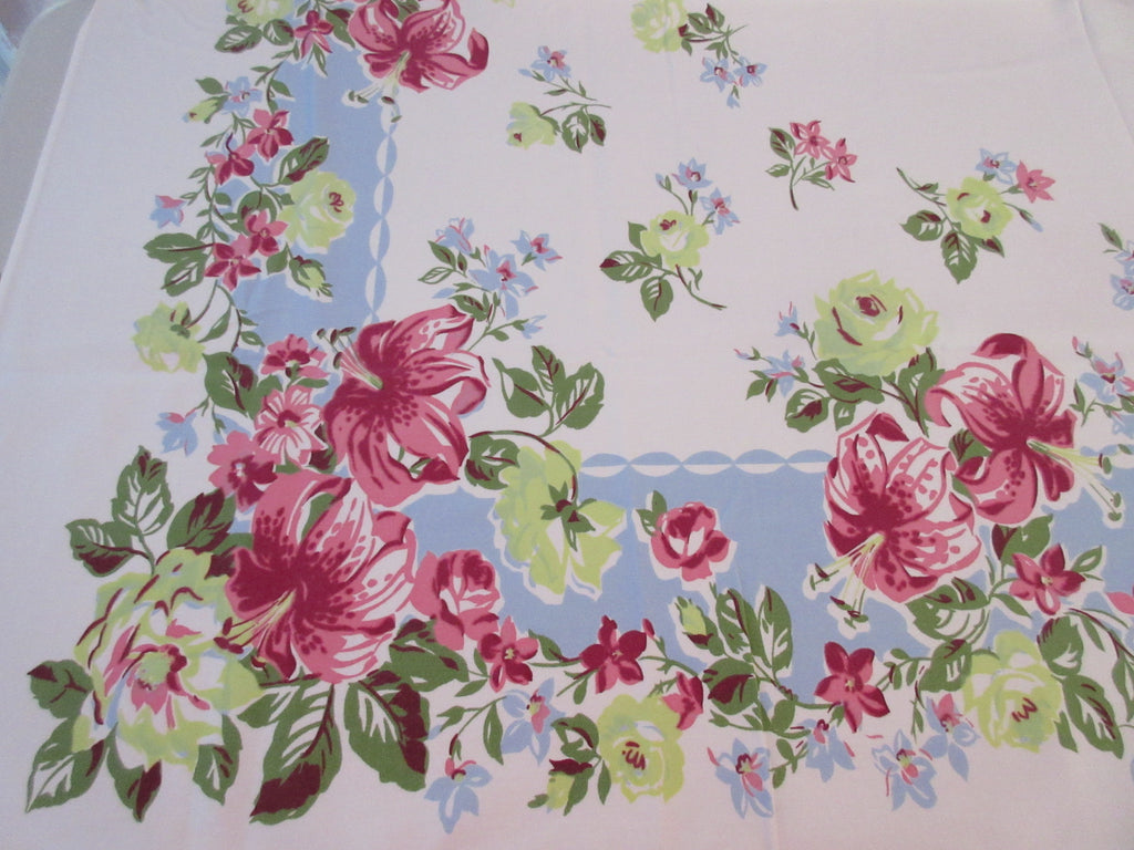 Pink Lilies Chartreuse Roses on Blue Floral Vintage Printed Tablecloth (59 X 50)