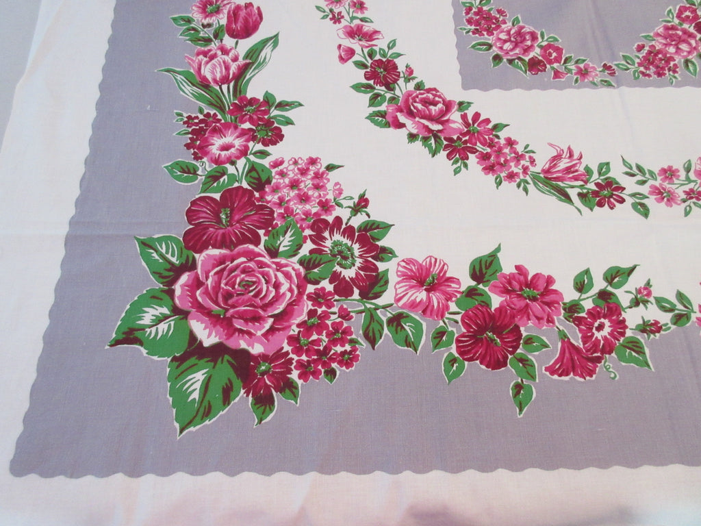 Purple Green Roses on Gray Startex Floral Vintage Printed Tablecloth (50 X 46)