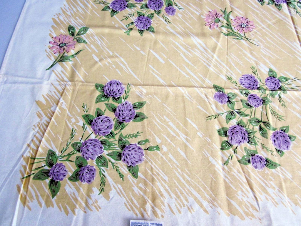 Purple Green Clovers on Gold Floral MWT Vintage Tablecloth (51 X 49)