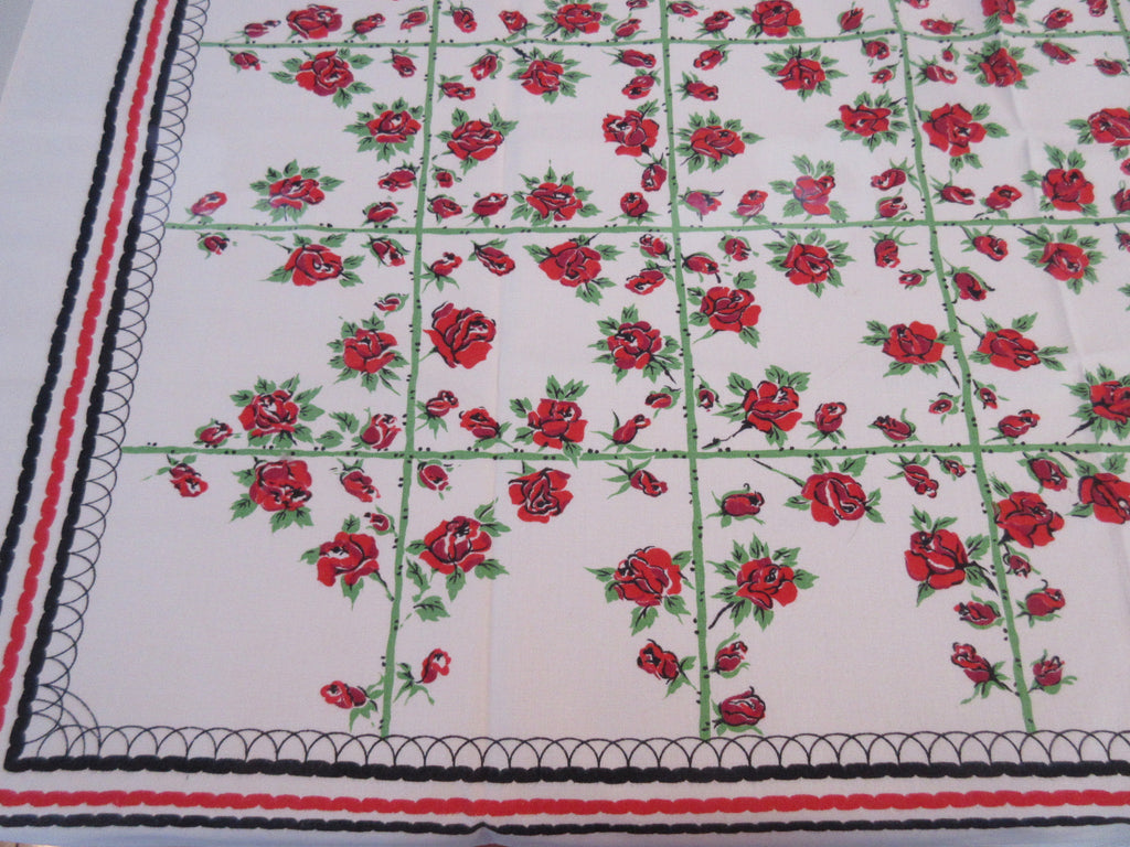 Red Roses on Green Stem Grid Sheeting Floral Vintage Printed Tablecloth (45 X 43)